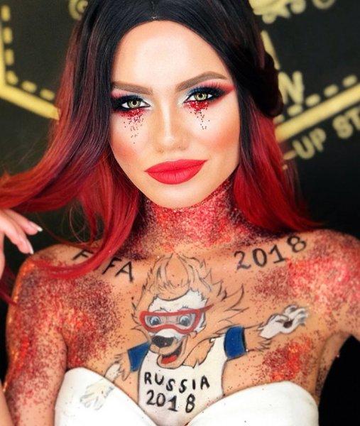 Мисс ФК «Ростов» разукрасила свое тело в честь Чемпионата Мира по футболу