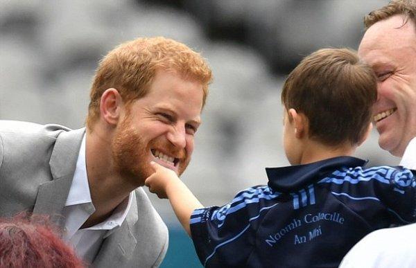 В Дублине мальчик ухватил принца Гарри за бороду