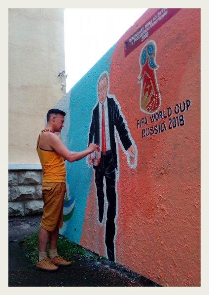 В Перми появилось граффити с Путиным, играющим в футбол