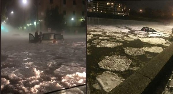 Аномалия в виде сильнейшего дождя с градом обрушилась на Рим и привела к его затоплению
