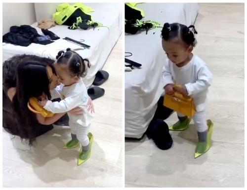 Роскошь с пелёнок: Годовалая дочь Ким Кардашьян носит туфли за 592$ и сумку за 17 500$
